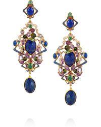Percossi Papi | Blue Art Nouveau Goldplated Multistone Earrings | Lyst
