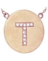 Jennifer Meyer - Pink T Letter Necklace - Lyst