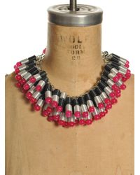 Kirsty Ward - Black Wire Coiled Necklace with Glass Beads Crystals - Lyst