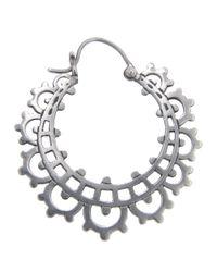 Laurent Gandini - Metallic Lace Hoop Earring - Lyst