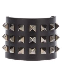 Valentino | Black Rockstud Leather Cuff | Lyst