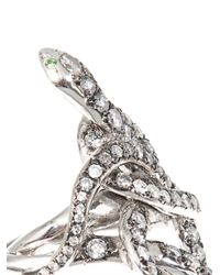 Ileana Makri - Gray Grey Diamond, Tsavorite & Gold Poison Snake Ring - Lyst