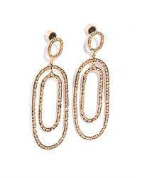 Ileana Makri | Pink White Diamond & Gold Double Hoop Earrings | Lyst