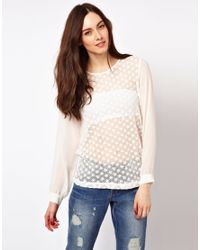 French Connection | White Blouse with Crochet Front | Lyst