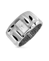 Roberto Cavalli | Metallic Croco Tail - Silver Dial Cuff Bracelet Watch | Lyst