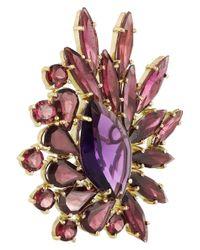 Ana Khouri - Purple Brigitte 18karat Gold Amethyst and Rhodonite Earrings - Lyst