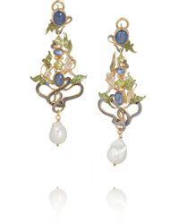 Percossi Papi - Metallic Art Nouveau Goldplated Multistone Earrings - Lyst