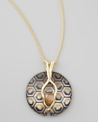 Alexis Bittar - Metallic Mod Geometric Pattern Lucite Pendant Necklace Neutral - Lyst