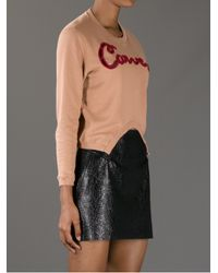 Carven | Brown Molleton Embroidered Sweater | Lyst