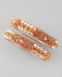 Chamak by Priya Kakkar | Metallic Set Of 2 Beadfilled Crystal Bangles Orange | Lyst