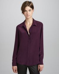 Equipment | Purple Brett Vintage Wash Onepocket Blouse Cabernet | Lyst