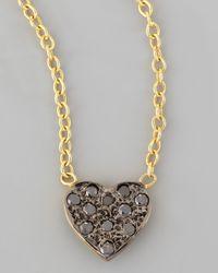 Kacey K | Metallic Mini Black Diamond Heart Pendant Necklace | Lyst