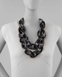 Kenneth Jay Lane - Black Double Strand Enamel Link Necklace  - Lyst