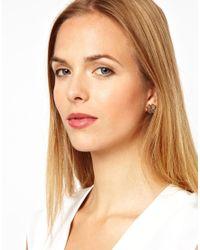 L.K.Bennett - Metallic Tudor Rose Mongram Stud Earrings - Lyst