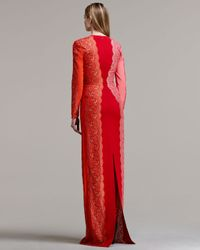 Stella McCartney - Red Scallop-panel Lace Long-sleeve Gown Vermillion Tri-color - Lyst