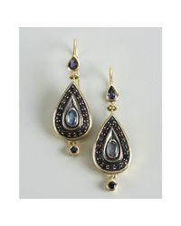 Amrapali - Metallic Gold and Lolite Stone Teardrop Earrings - Lyst