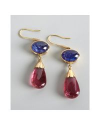 Amrapali - Metallic Tanzanite and Pink Tourmaline Drop Earrings - Lyst