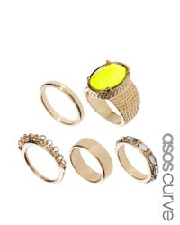 ASOS - Metallic Stone Ring Pack - Lyst