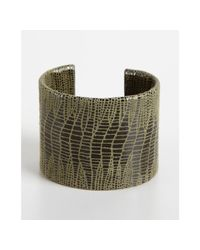 A.V. Max - Green Olive Python Embossed Leather Cuff - Lyst