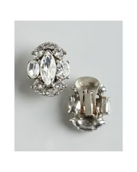 Ben-Amun - Metallic Silver and Crystal Cluster Clip On Earrings - Lyst