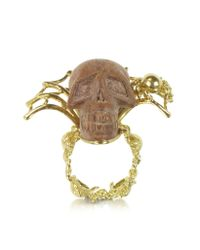 Bernard Delettrez - Metallic Gold With Wooden Skull Web Ring - Lyst