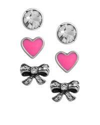 Cath Kidston | Metallic Heart Bow Set Of Three Earrings | Lyst