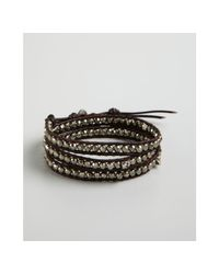 Chan Luu | Brown Pyrite and Skull Bead Leather Wrap Bracelet | Lyst