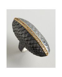 Elizabeth and James | Metallic Silver and Gold North South White Sapphire Feather Ring | Lyst