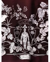 Gucci - Red Botanicalprint Silk Scarf for Men - Lyst