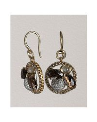 Gucci | Metallic Diamond and Quartz Fume Flora Fly Horsebit Earrings | Lyst