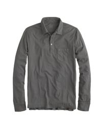 J.Crew   Gray Broken-In Long-Sleeve Pocket Polo Shirt for Men   Lyst