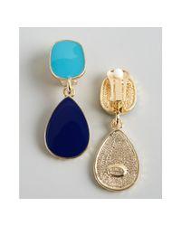 Kenneth Jay Lane | Blue Turquoise and Navy Enamel Drop Earrings | Lyst