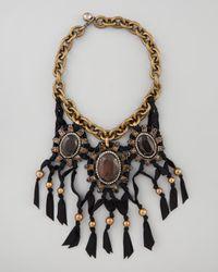 Lanvin - Rhinestone Ribbon Necklace Dark Brown - Lyst
