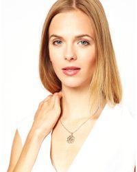 L.K.Bennett - Metallic Tudor Rose Pendant Necklace - Lyst