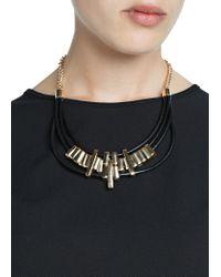 Mango - Black Leather Cords Necklace - Lyst