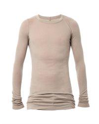 Rick Owens | Brown Ribbed Crewneck Long Tshirt | Lyst