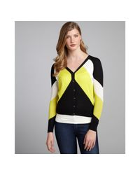 Shae | Black and Neon Yellow Colorblock Cottonlinen Blend Cardigan | Lyst