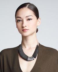 Donna Karan - Black Leather Torque Necklace - Lyst