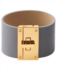 Jaeger - Gray Leather Cuff - Lyst