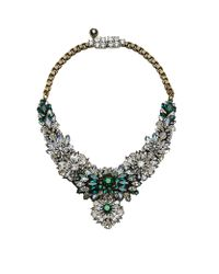 Shourouk - Green Flower Burst Crystal Necklace - Lyst