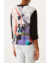 TOPSHOP - White Woven Chiffon Marble Sweat Top - Lyst