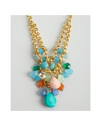 Wendy Mink - Metallic Gold and Tiered Multi Stone Bead Cluster Necklace - Lyst