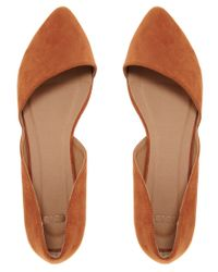 ASOS - Brown Link Pointed Ballet Flats - Lyst
