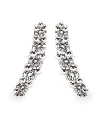 Stone | Metallic 18kt White Gold Line Button Earrings with Pavé Diamonds | Lyst