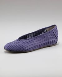 Eileen Fisher | Blue Perforated Ballerina Flat | Lyst