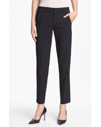 Vince | Black 'strapping' Stretch Wool Trousers | Lyst