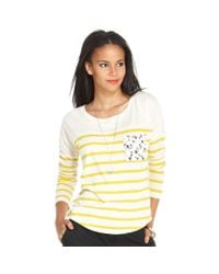Maison Jules - Yellow Longsleeve Scoopneck Striped - Lyst