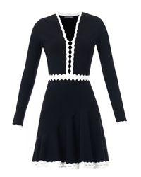 Alexander McQueen | Black Cut-out Contrast Detail Dress | Lyst
