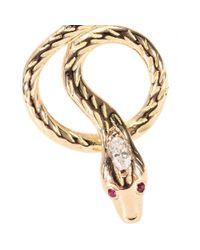 Ileana Makri - Metallic 18kt Rose Gold Snake Tree Earrings with Diamonds and Rubies - Lyst