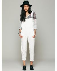 Free People - White Straight Eyelet Dungarees - Lyst